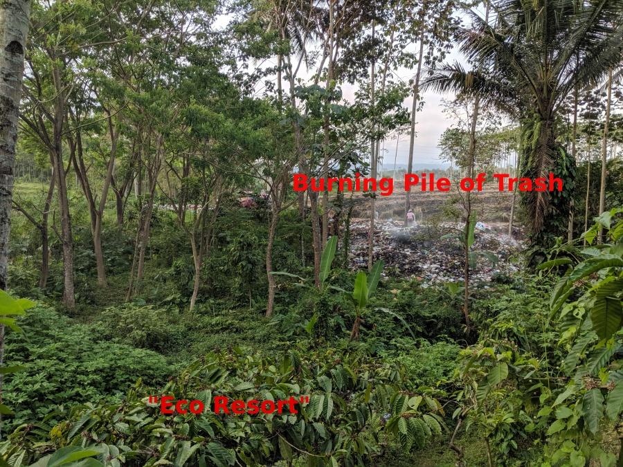 Burning trash near Indonesian eco resort