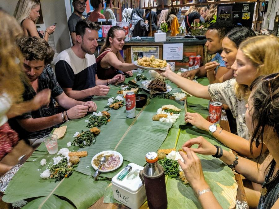 Dinner Party at Happy Buddha Hostel in Yogyakarta