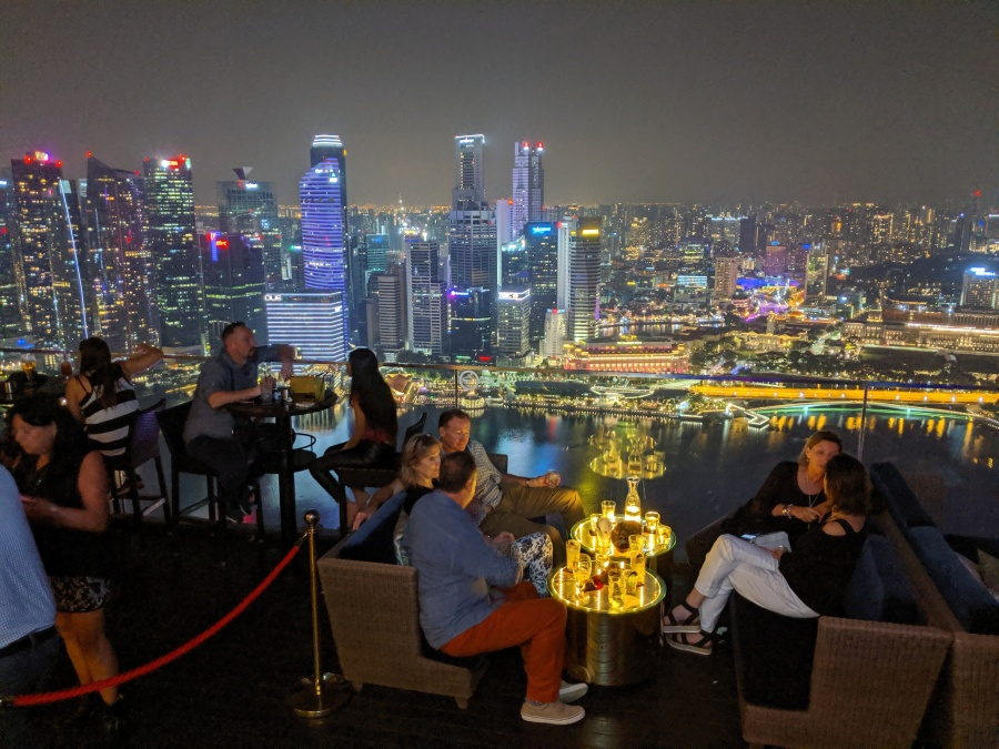 Singapore skyline from the top of the Marina Bay Sands Hotel