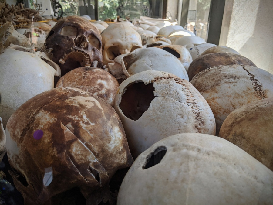 Skulls of victims of the Cambodian Genocide