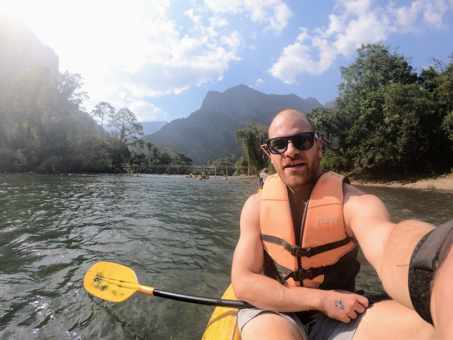 Kayaking on the Nam Song River north of Vang Vieng