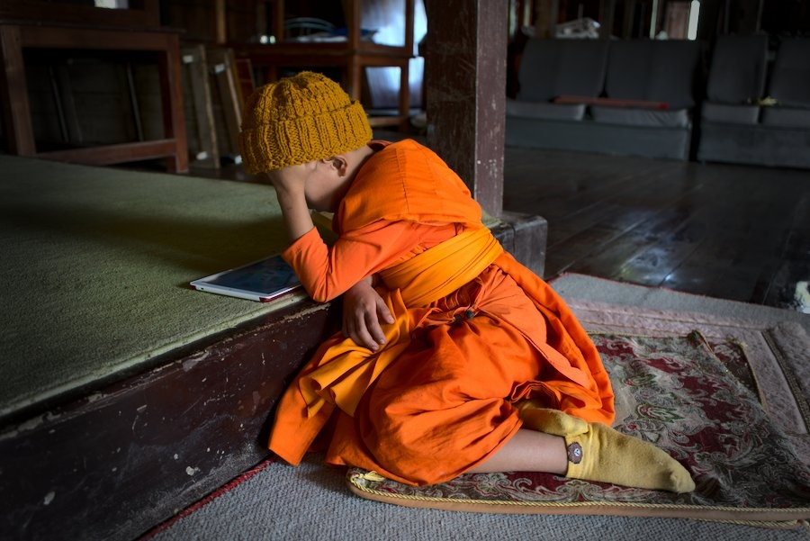 Young Monk in Wat Phrathat Doi Kongmu in Mae Hong Son