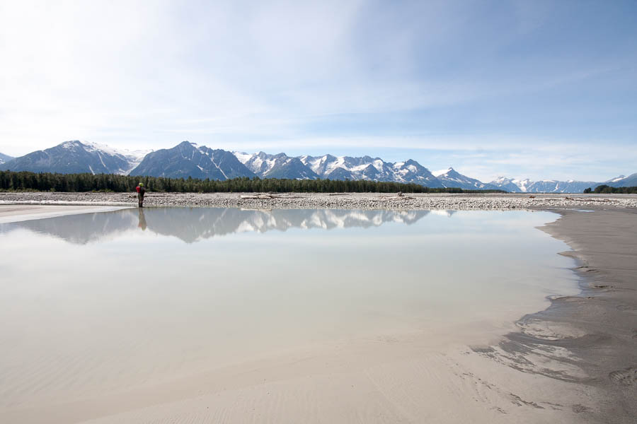 Our journey on the Tatshenshini continued on through ever more spectacular scenery. Over the course of a single day's journey to the Confluence, where the Tatshenshini joins the Alsek River, the volume of water in the river increases more than sixfold.