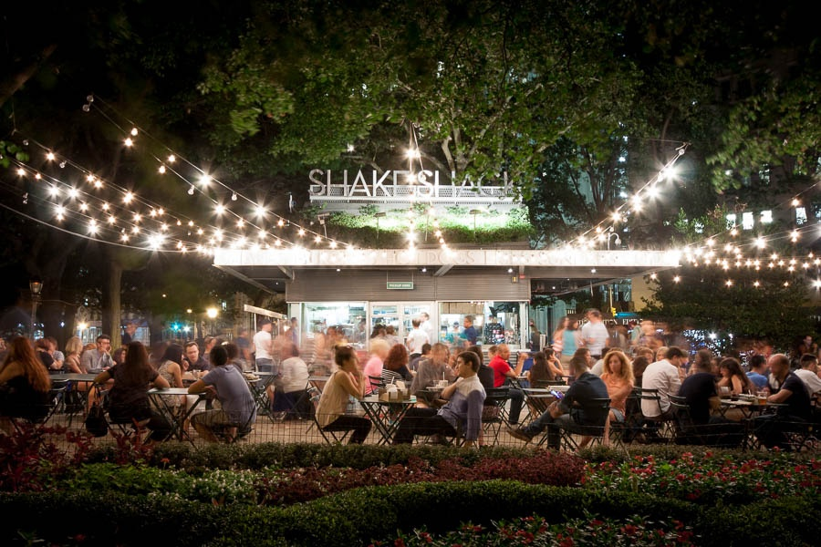 The original Shake Shack in Madison Square Park. It's always busy.