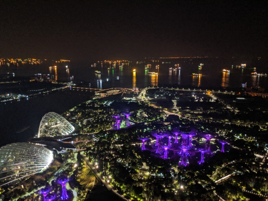 Singapore Strait from the top of the Marina Bay Sands Hotel