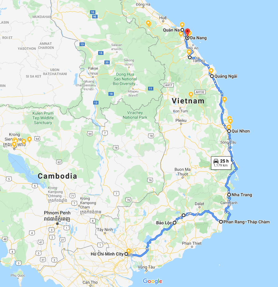 Map of my Motorcycle Route from Saigon to Danang